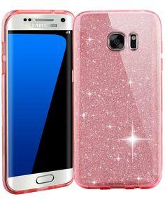 Samsung S7 Edge Crystal TPU+PC Hard Case-Auroralove Pink Beauty Bling Soft Clear TPU+Shiny Layers+Hard PC Frame Cover for Samsung Galaxy S7 Edge