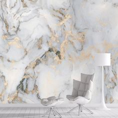Marble with a hint of gold Wallpaper - Non Pasted Canvas Material / Large 144l x 96w