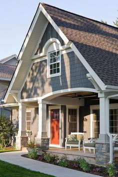 Exterior Paint Color Ideas. Sherwin Williams SW 7061 Night Owl. #SherwinWilliams… Orange/Red door.