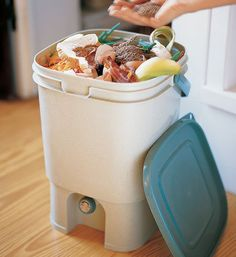 "Developed in Japan, this compost kit quickly and odorlessly converts organic matter into a high-grade soil conditioner through the use of effective microbes or ""Bokashi"" — a Japanese word meaning ""fermented organic matter. Organic Gardening, Gardening Tips, Bokashi, Garden Compost, Vegetable Garden, Organic Matter, Food Waste, Sustainable Living, Eco Friendly"