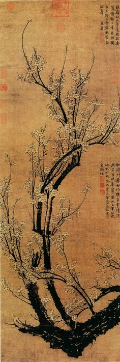 Wang Mian: Plum Blossoms in Early Spring, Hanging scroll, ink on silk… Korean Painting, Chinese Painting, Japan Painting, Art Asiatique, Ink In Water, Chinese Landscape, Art Japonais, Beijing, China Art