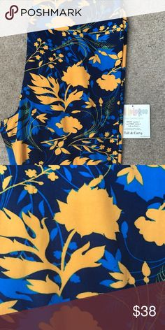 LuLaRoe TC blue/yellow floral BNWOT brand new just didn't come with tags. Blaine yellow floral print. Smoke free and pet free home. LuLaRoe Pants Leggings