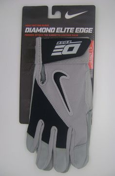 NIKE DIAMOND ELITE EDGE GRAY/BLACK ADULT BATTING GLOVES PAIR (ADULT SMALL)-NEW #Nike