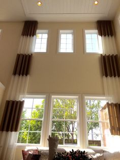 Two story length curtains