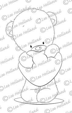 Teddy quetschen Herz Digi Stamp von LeeHIllustrations auf Etsy