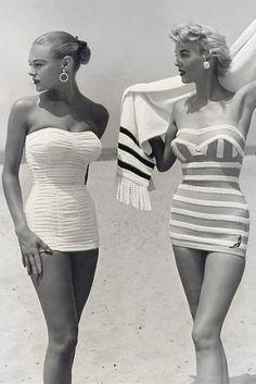 vintage swimwear retro swimsuit 1950s vogue. Both are super cute.  I will have one of these this summer!