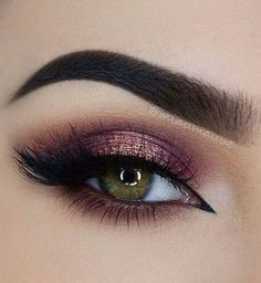 Pin Up Liner + Lashes + Copper Under Eye & Outer V + Purple & Rose Gold Eyelid