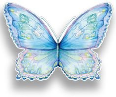 Blue Butterfly. This wraparound, die-cut card features half of the butterfly as the front, and half as the back. A similar card is available in pink.