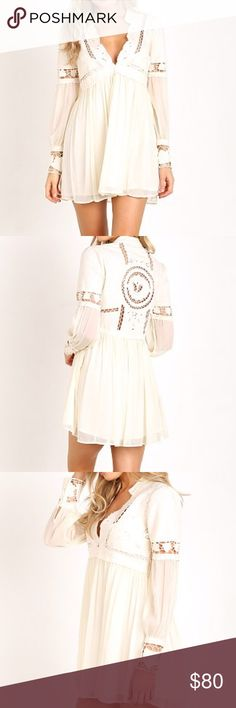 Free People In Dreamland Embroidered Dress Ivory. Size 4. Available on Merc for $25 cheaper! Free People Dresses Mini