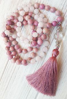 Rhodochrosite & Rose Quartz Mala Beads 108 Mala Necklace 108 Bead Mala Rose Quartz Heart Healing Mala Necklace Heart Chakra Mala Beads 108