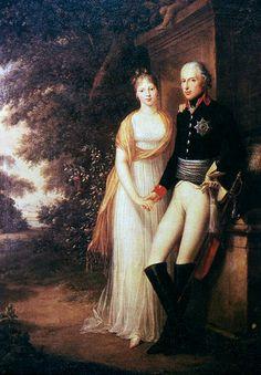 1799: Friedrich Wilhelm III. (r. 1797-1840) und Königin Luise im Park von Schloss Charlottenburg
