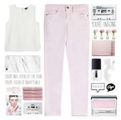 """""""Pink and White"""" by fashionlover2157 ❤ liked on Polyvore featuring Current/Elliott, Monki, Clinique, Topshop, Christy, Christian Dior, NARS Cosmetics, River Island, Acne Studios and PEONY"""