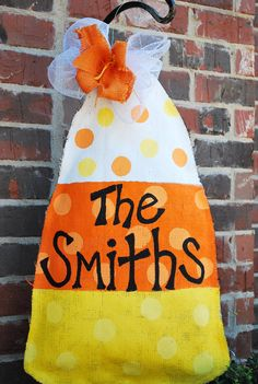 Burlap Candy Corn Door hanger
