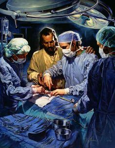 LOVE this print...Jesus offering his support to the talent of the Surgeons, Jesus and the Surgeon. Imagine if doctors go as instruments of God, without the arrogance and self -sufficiency, I am sure the Lord would allow many miracles and advances for all human beings! many prayers for humility in our doctors, so they can give glory to God with their works and care for others!