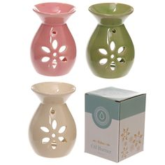 Simple Coloured Flower Cut Out Design Ceramic Oil Burner