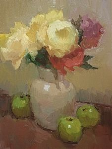 Yellow Roses Green Apples by Kathryn Townsend Oil ~ 16 x 12