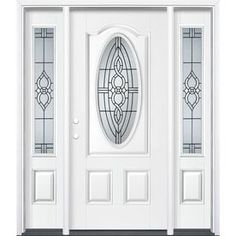 Masonite Calista Oval Lite Decorative Glass Left-Hand Inswing Arctic White Painted Fiberglass Prehung Entry Door With Si Entry Door With Sidelights, Entry Doors, Door Jamb, Painted Doors, Wood Doors, Masonite Interior Doors, Glass Supplies, Yellow Painting, Glass Texture