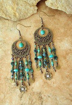 Boho Chandelier Earr Boho Chandelier Earrings Turquoise Earrings Hippie by BohoStyleMe