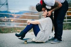 Our engagement photos! Skateboards, ravines, trucks and one hunky man   Contact M&Him asap for a photo sesh if you know what's good for you! (Mandhim.com)   #skateboard #engagement