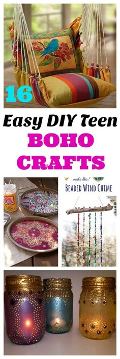 16 easy DIY bohemian crafts for both teens and 20's to help create a cozy bedroom, apartment, dorm or first home. DIY boho crafts and global decor accents are the perfect and inexpensive way to help with your home decorating. #boho #bohemian #diycrafts #bedroomdecor
