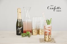 gold leaf, tumblers, flutes, gold dot