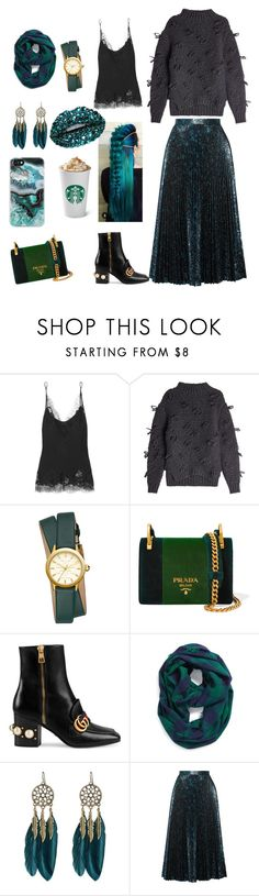 """""""Stone"""" by walerie ❤ liked on Polyvore featuring Carine Gilson, Simone Rocha, Tory Burch, Prada, Gucci, Steve Madden, WithChic and Casetify"""