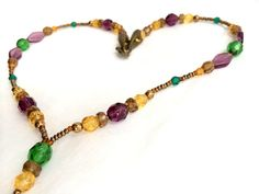 Vintage Glass Amber Amethyst Golden and Green by DejaVuVintiques