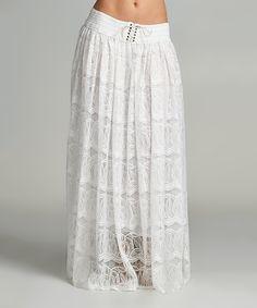 Love this White Swirl Lace-Up Maxi Skirt by VELZERA on #zulily! #zulilyfinds