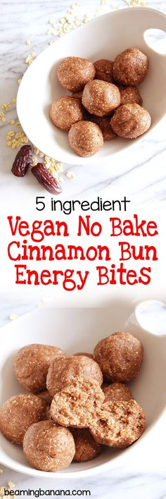 Vegan no bake cinnamon bun energy bites are sweet, poppable bites that are perfect for a grab and go snack or breakfast treat! Made with just 5 ingredients, gluten free and naturally sweet.