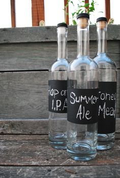 Homebrew bottles with chalkboard labels - I already do something like this, but this I like this look