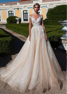 Gorgeous Tulle Sheer Jewel Neckline Natural Waistline A-Line Wedding Dress With Beaded Lace Appliques
