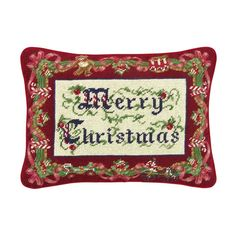 "12 Inch x 16 Inch Needlepoint Christmas Pillow. Add a touch of the holidays to any home with this decorative hand-crafted 12"" x 16"" needlepoint pillow. The Festive Topiaries Needlepoint Pillow is a Colonial Williamsburg licensed design. The Merry Christmas [Red with Candy Canes] Needlepoint Pillow and the Nutcrackers Needlepoint Pillow are each a Marlene Moore licensed design. The Merry Christmas [Red with Holly] Needlepoint Pillow is a Sandy Lynam Clough licensed design. The Ribbons…"
