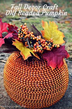 This Fall Decoration Craft , a DIY Beaded Pumpkin, will add a touch of elegance to your holiday table!