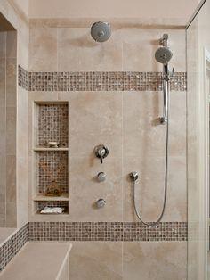 niche Awesome Shower Tile Ideas Make Perfect Bathroom Designs Always: Beautiful Shower Tile Ideas Glass Cover Shower Metalic Shower ~ gnibo.com Ba...
