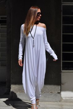 New Colection-Extra Long Sleeves White Jumpsuit / Cotton Union Suit / Loose Casual Black Drop Crotch Harem Pants by Eug Fashion White Long Sleeve Jumpsuit, One Shoulder Jumpsuit, White Jumpsuit, Cotton Jumpsuit, Summer Jumpsuit, Baggy Jumpsuit, Formal Jumpsuit, Jumpsuit Dress, Ladies Jumpsuit