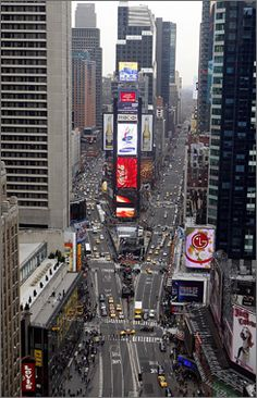 The view looking north in Times Square shows Broadway to the left and 7th Avenue to the right, from the 21st floor of One Times Square, in N...
