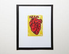 Hand printed linocut block print of Anatomical Heart