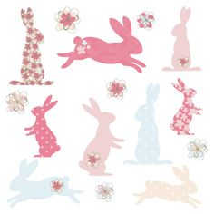 Bunny Rabbit Silhouette Shapes in Cute Pink and Blue Digital Clip Art - Ideal for Scrapbooking, Cardmaking Cupcake Toppers and Paper Crafts. $3.60, via Etsy.