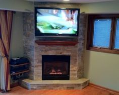 corner fireplace designs with tv above - Google Search concept of where to put the dish box
