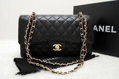 Medium flap (aka 1112 flap) in black caviar leather and gold chain