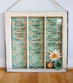 Cute idea! Antique window pain, wall paper background and white board pen.