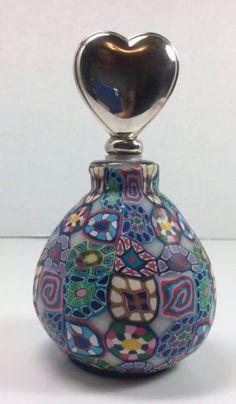 Elegant Murano Vibrant Mixed Millefiori Glass Perfume Bottle Heart Stopper | eBay   TY Carmella Bouska