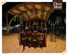 Aloha! Bar Multiposes CHEZ MOI - at night #secondlife #sl #mesh #xmas #christmas #furnitures #decor #design #chezmoifurnitures #chezmoi