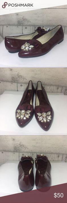 Michael kors felicity flat 6m Michael Kors Women's 6M Felicity Flat Rhinestone Bow Maroon Point Toe Michael Kors Shoes Flats & Loafers