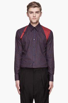 Alexander McQueen Red And Blue Check Harness Shirt for men   SSENSE