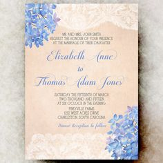 Lace Peach periwinkle Wedding Invitation  by DivineGiveDigital