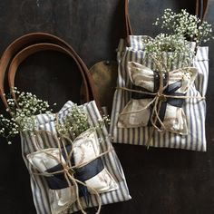 Vintage Inspired, Shabby Chic, Rustic DIY or Handmade Gifts: ticking fabric market bag with leather handles and copper rivets, and scented sachets/hand warmers/ice packs/heat pads (rice drizzled with lavender essential oil)