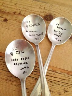 Hand Stamped Coffee & Tea Lover Spoons by ForSuchATimeDesigns