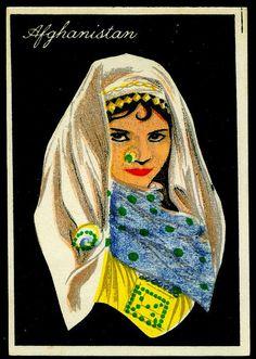 "Drapkin's Cigarettes ""Girls of Many Lands"" (set of 50 issued in Afghanistan Cigarette Girl, Afghan Girl, Cultural Studies, Princess Zelda, Disney Princess, World Cultures, Afghanistan, Disney Characters, Fictional Characters"