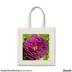 Purple Rose Blossom Budget Tote Bag  #rose #roses #totebag #totebags #reusable #reusablebags #flower #flowers #zazzle #zazzlestore #gift #shopping #grocery #groceries